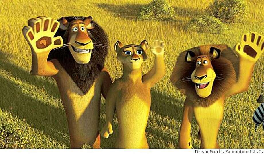 Alpha lion Zuba (BERNIE MAC), his wife (SHERRI SHEPHERD) and his son, Alex (BEN STILLER) bid the no-longer-marooned tourists adieu in DreamWorks? ?Madagascar: Escape 2 Africa.? Photo: DreamWorks Animation L.L.C.