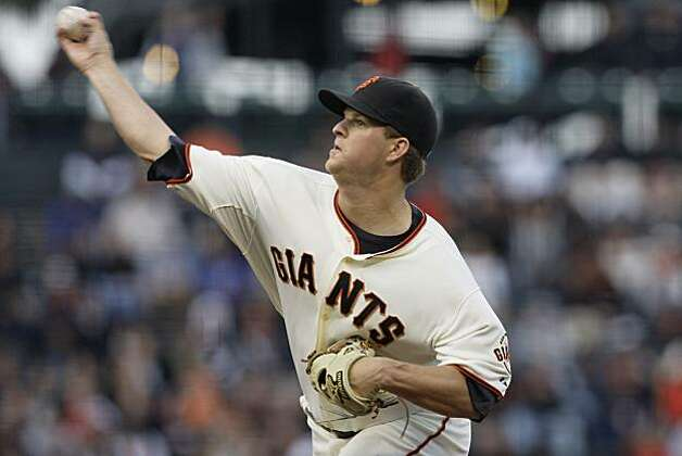 San Francisco Giants' Matt Cain pitches against the Colorado Rockies in the first inning of a baseball game in San Francisco, Wednesday, June 2, 2010. Photo: Jeff Chiu, AP