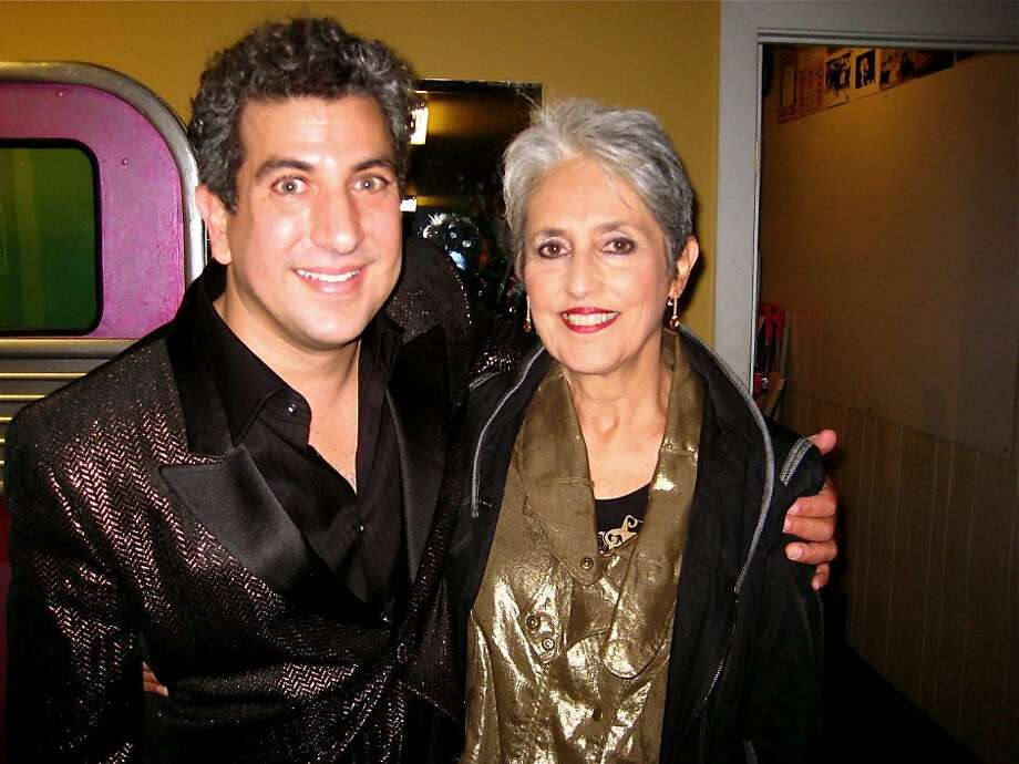 Comedian Frank Ferrante and songbird Joan Baez at Teatro ZinZanni. May 2010. Photo: Catherine Bigelow, Special To The Chronicle