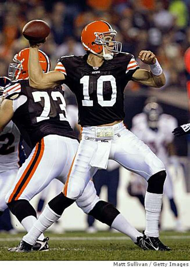 CLEVELAND - NOVEMBER 06:  Brady Quinn #10 of the Cleveland Browns throws a pass against the Denver Broncos during the first quarter of their NFL game at Cleveland Browns Stadium November 6, 2008 in Cleveland, Ohio.  (Photo by Matt Sullivan/Getty Images) Photo: Matt Sullivan, Getty Images