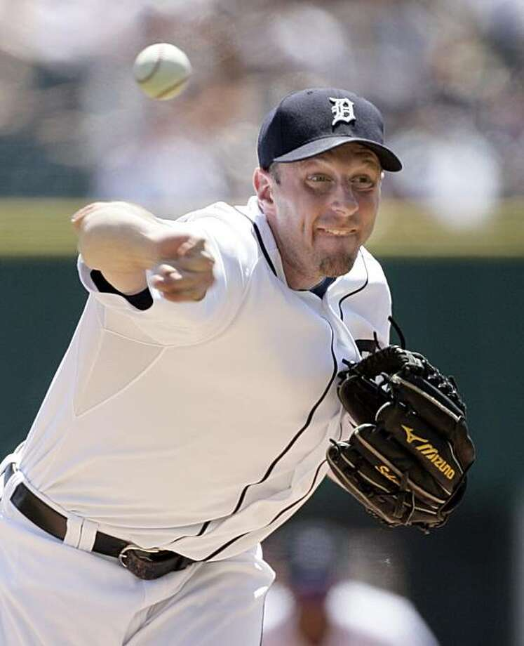 Detroit Tigers starter Max Scherzer pitches against the Oakland Athletics in the second inning of a baseball game Sunday, May 30, 2010, in Detroit. Photo: Duane Burleson, AP