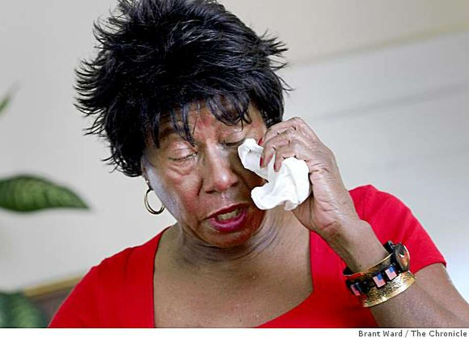Mae Theadgill cries as she talks about what the Barack Obama victory means to her. African Americans gathered at her home in San Francisco, Calif., on  Wednesday, November 5, 2008 to tell stories about their ancestors and revel in the victory of Barack Obama. Photo: Brant Ward, The Chronicle