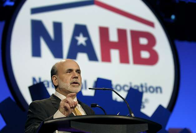 Ben S. Bernanke, chairman of the U.S. Federal Reserve, speaks at the National Association of Homebuilders International Builders' Show in Orlando, Florida, U.S., on Friday, Feb. 10, 2012. Bernanke said the central bank's efforts to spur economic growth are being blunted by impediments to mortgage lending, and he called for further steps to heal the housing market. Photographer: Phelan M. Ebenhack/Bloomberg *** Local Caption *** Ben S. Bernanke Photo: Phelan M. Ebenhack, Bloomberg