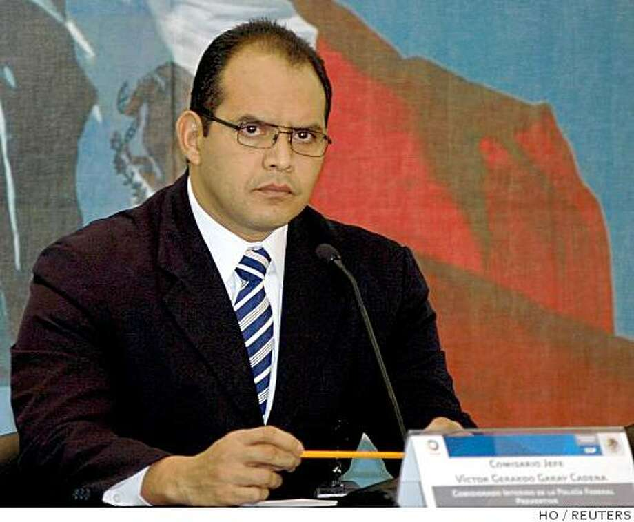 Gerardo Garay, one of Mexico's top police officers, is seen in this file photograph released by Fedetral Police office on November 1, 2008. Garay has quit after an aide was accused of working for a leading drug cartel, the security ministry said on Saturday. Garay, acting federal police commissioner, has stepped down and said he will cooperate with an organized crime investigation, a ministry spokesman said.      REUTERS/Federal Police office/Handout (MEXICO).  FOR EDITORIAL USE ONLY. NOT FOR SALE FOR MARKETING OR ADVERTISING CAMPAIGNS. Photo: HO, REUTERS