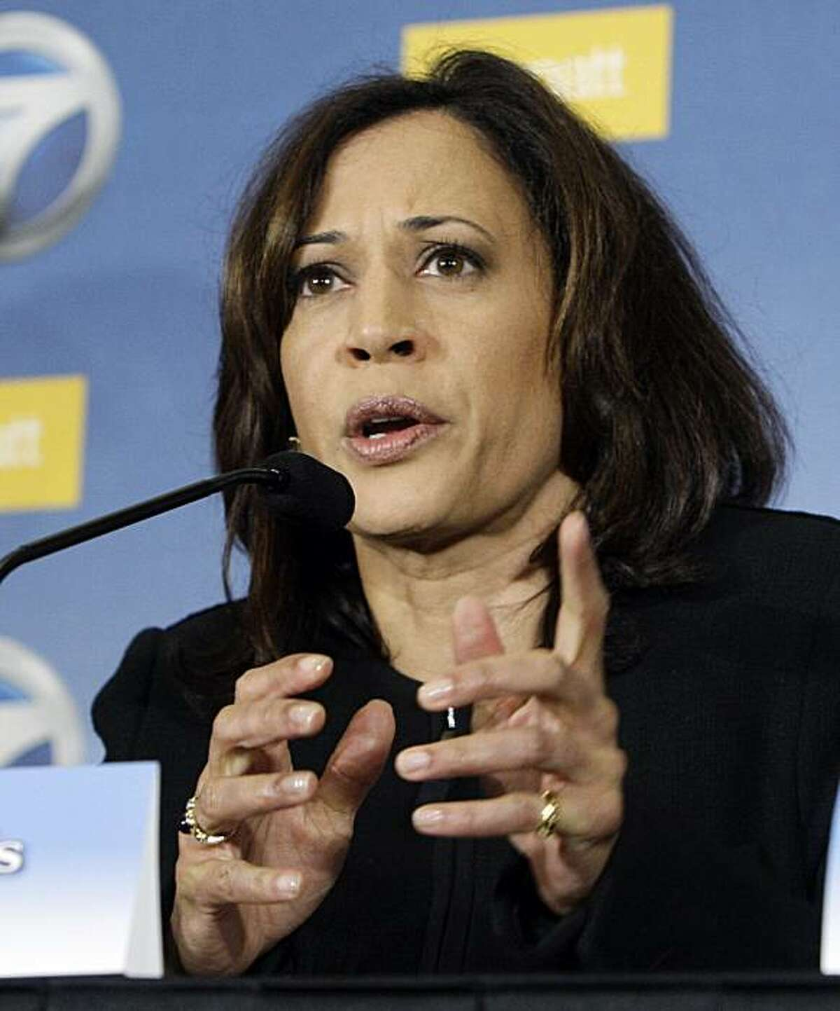 Kamala Harris takes part in a debate among the Democratic candidates for California Attorney General, at the Milken Institute in Santa Monica, Calif., Tuesday, May 18, 2010.