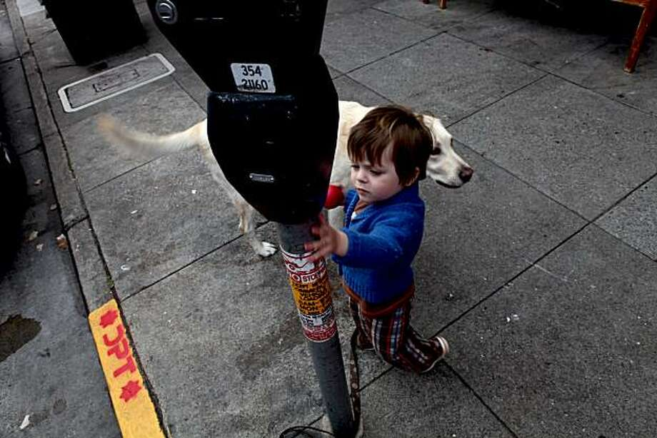 Theo Johnson, 2, plays around with his dog Midas who is tied to a meter in the Marina District. This neighborhood is one of the five in the city that may be extending parking meter operations to Sundays as a pilot study on Monday, April 26, 2010 in San Francisco, Calif. Photo: Jessica Pons, The Chronicle