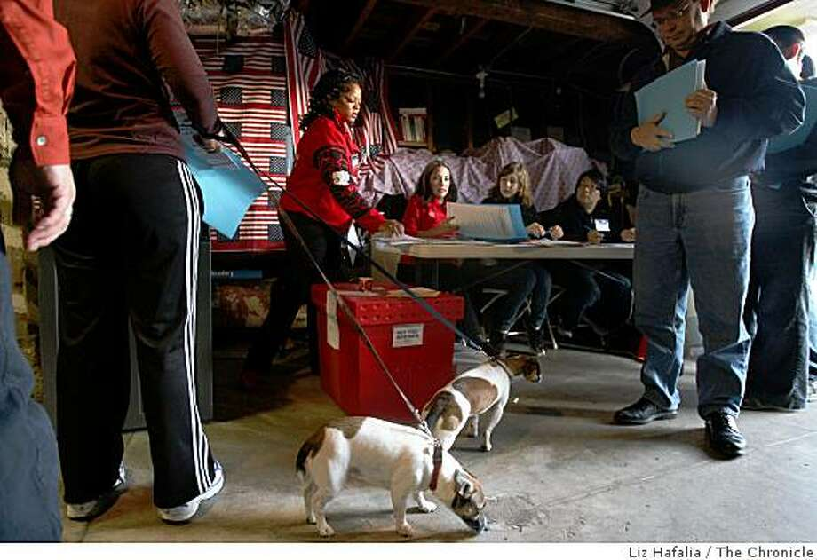 Murphy and Shannon wait for their owner Monica Healy as she casts her vote on Congo St. in San Francisco, Calif., on Tuesday, November 4, 2008. Photo: Liz Hafalia, The Chronicle