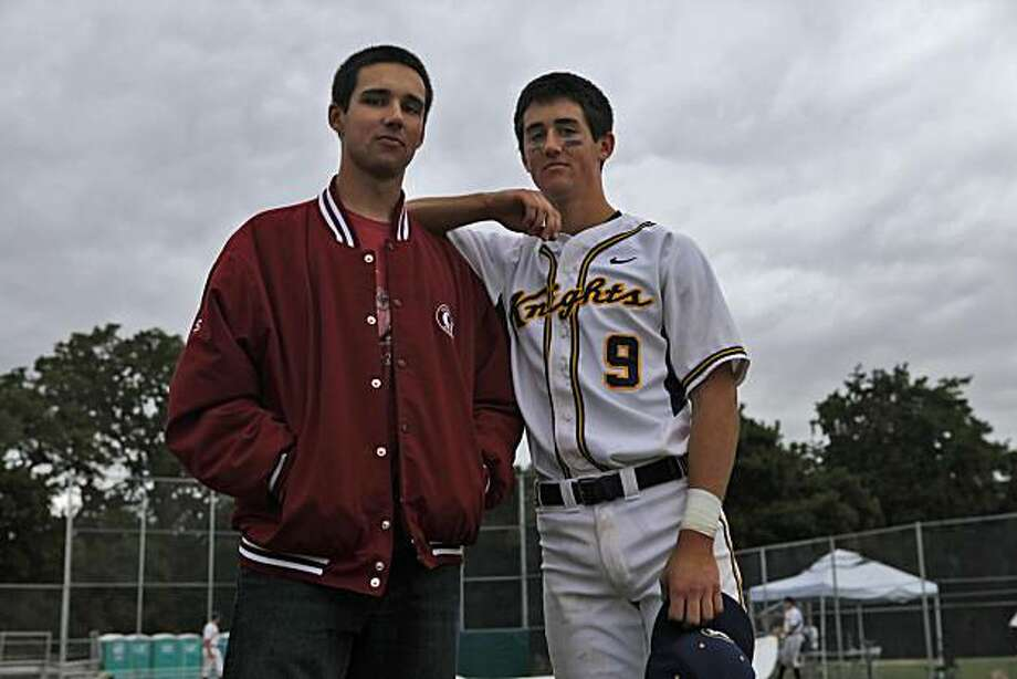 Brothers Kenny, 19yrs, and Danny Diekroeger, 18yr, clown around after Danny's game, Wednesday May 19, 2010, in Atherton, Calif.  The two are known as the best baseball players in Northern California. Photo: Lacy Atkins, The Chronicle