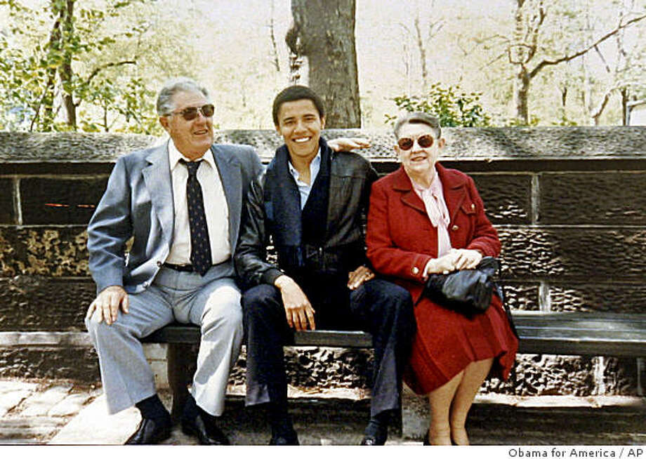 ** FILE  **  This undated photo released by Obama for America shows Barack Obama with his grandparents, Stanley Armour Dunham and Madelyn Lee Payne Dunham in New York City, during a visit with  Obama, who was a student at Columbia University. A day before the presidential election, Barack Obama announced the death Monday, Nov. 3, 2008  of his grandmother, who helped raise him and who he praised as the cornerstone of his family. (AP Photo/Obama for America) ** FOR EDITORIAL USE ONLY, NO SALES ** Photo: Obama For America, AP