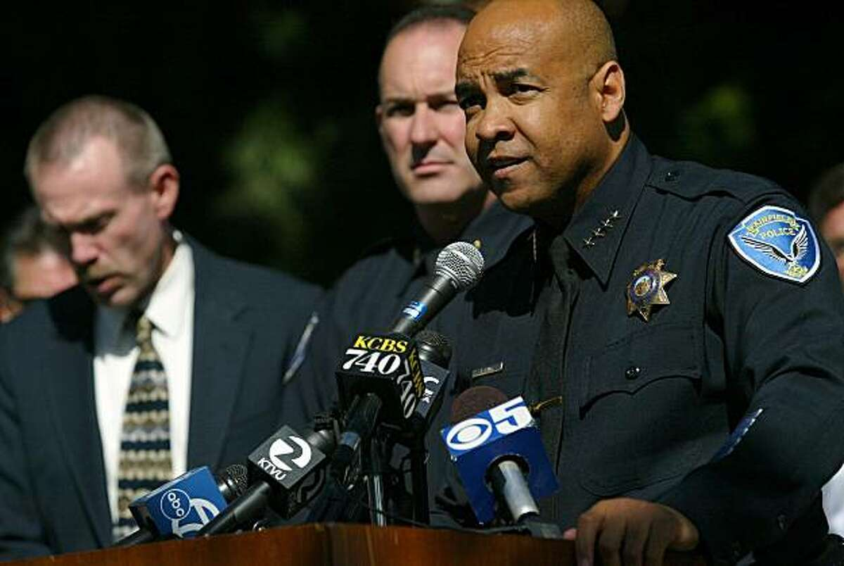 Fairfield Police Chief Kenton Rainey addresses a crowd outside of the Fairfield Police Dept. Saturday, Sept. 13, 2008 in Fairfield, Calif. Police have arrested two suspects in the shooting death of Fairfield City Councilman Matt Garcia. Fairfield Police Chief Kenton Rainey says 45-year-old Gene Allen Combs of Suisun City and 33-year-old Nicole Stewart of Fairfield were arrested early Saturday. (AP Photo/The Vacaville Reporter, Ryan Chalk)**MANDATORY CREDIT**