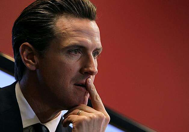 SAN FRANCISCO - MARCH 03: San Francisco Mayor Gavin Newsom looks on during a press conference announcing the launch of a national initiative to open 311 customer service centers to developers March 3, 2010 in San Francisco, California. San Francisco MayorGavin Newsom and U.S. Chief Information Officer Vivek Kundra launched the national Open 311 Application Programming Interface (API) which will allow software developers to create web applications that will allow the general public to make service requests via smart phones directly to 311 systems bypassing often inundated call centers. Photo: Justin Sullivan, Getty Images
