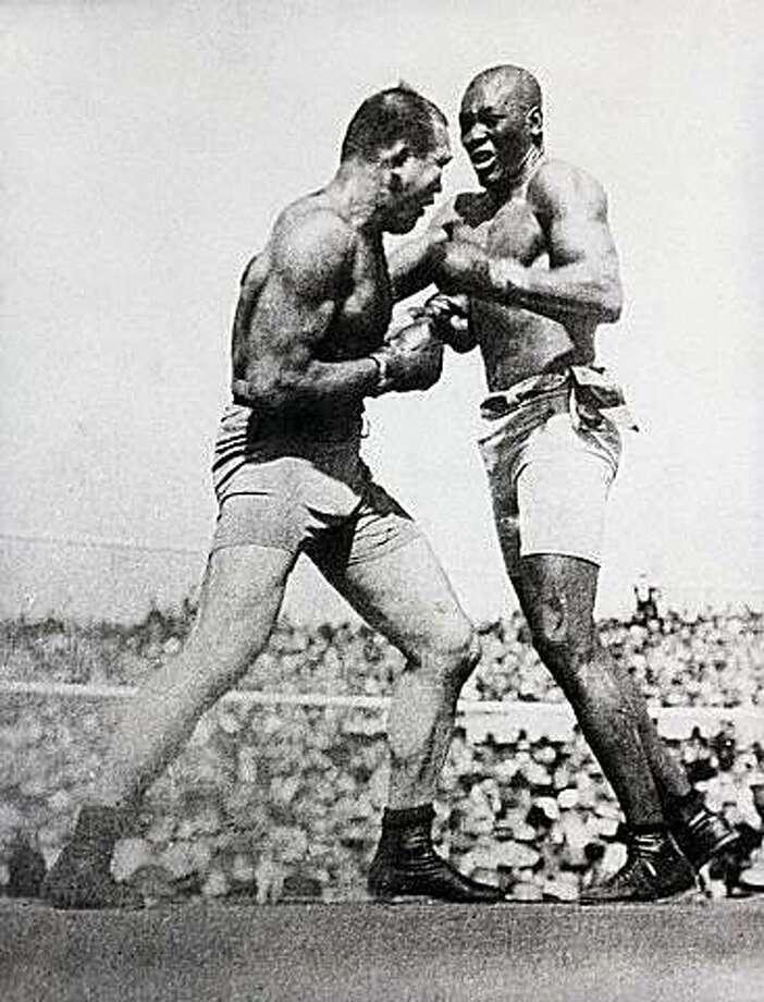 Jim Jeffries (left) and Jack Johnson fought in 1910. Photo: Blackathlete.net