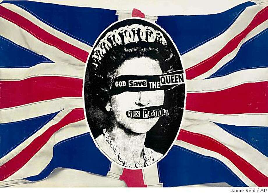 "This photo of a promotional poster for the 1977 Virgin Records' single"" God Save The Queen,""  by ""The Sex-Pistols,"" designed by Jamie Reid, was released by Christie's Auction House, in New York, Tuesday, Oct. 28, 2008. The poster will be offered at auction by Christie's in New York on Friday, Nov. 28, 2008 as part of their first auction to center on Punk and New Wave memorabilia. (AP Photo/Jamie Reid via Christie's) **NO SALES** Photo: Jamie Reid, AP"