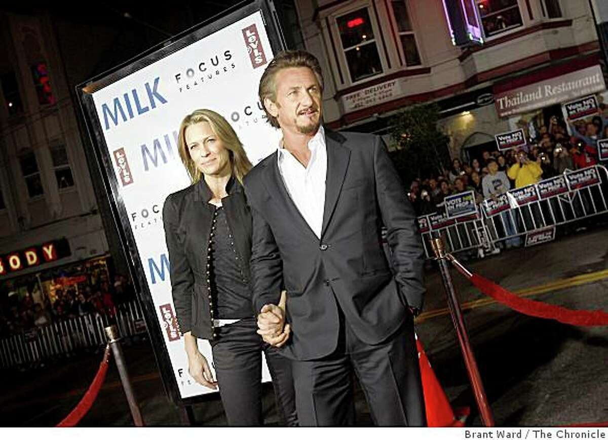 """Sean Penn and his wife, Robin Wright Penn, arrive at the premiere of the Gus Van Sant film """"Milk"""" . A benefit screening of the film """"Milk"""" was shown at the Castro Theatre in San Francisco, Calif., on Tuesday, October 28, 2008."""