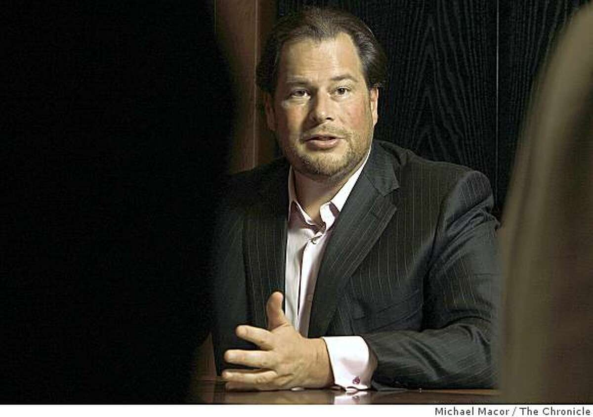 Marc Benioff, the CEO of salesforce.com, a San Francisco software company, talks with The Chronicle during an interview in San Francisco, Calif., on Tuesday, Oct. 28, 2008.