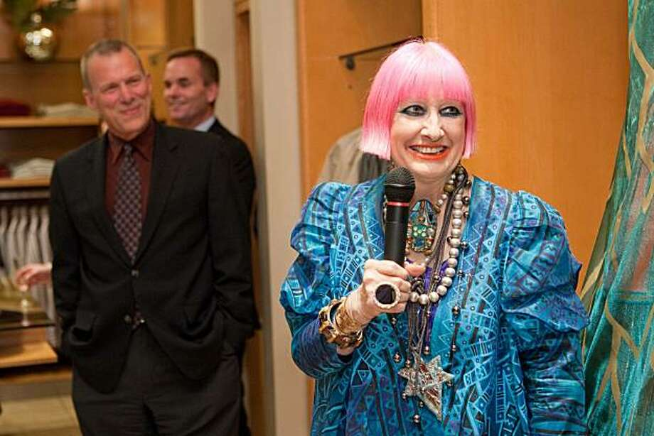 "David Gockley, at left, the General Director for San Francisco Opera, is pleased to have fashion designer Zandra Rhodes as costume designer for the Opera's Opening Night Gala performance of ""Aida"" coming up on Sept. 10, 2010. At a pre-party at the WilkesBashford store on May 25, 2010, Zandra talked to guests about her designs. Photo: Drew Altizer"