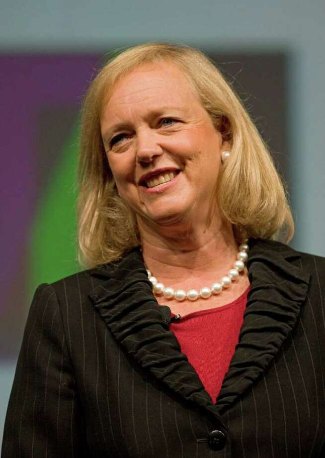 "Meg Whitman, former chief executive officer of EBay Inc., speaks at the Global Business Travel Association (GBTA) convention in Denver, Colorado, U.S., on Tuesday, Aug. 23, 2011. U.S. economic expansion for 2011's second half may be slower than analysts anticipated, suggesting a ""business travel slowdown this fall,"" according to a report by Deutsche Bank AG earlier this month. Photographer: Matthew Staver/Bloomberg *** Local Caption *** Meg Whitman Photo: Matthew Staver / © 2011 Bloomberg Finance LP"