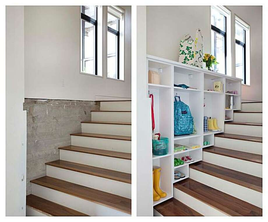Cubbies turn extra stair space into a storage solution. Photo: Courtesy, California Closets