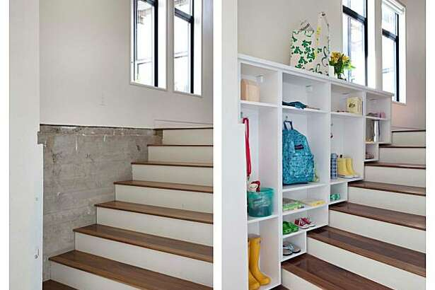 Cubbies turn extra stair space into a storage solution.