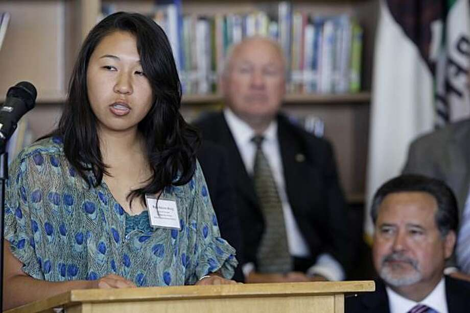 Maya Robles-Wong, who is one of the plaintiffs in Robles-Wong, et al. v. State of California, speaks during a press conference at A.P. Giannini Middle School in San Francisco, Calif. on Thursday, May 20, 2010. Superintendent Carlos Garcia is seen at bottom right. Photo: Lea Suzuki, The Chronicle