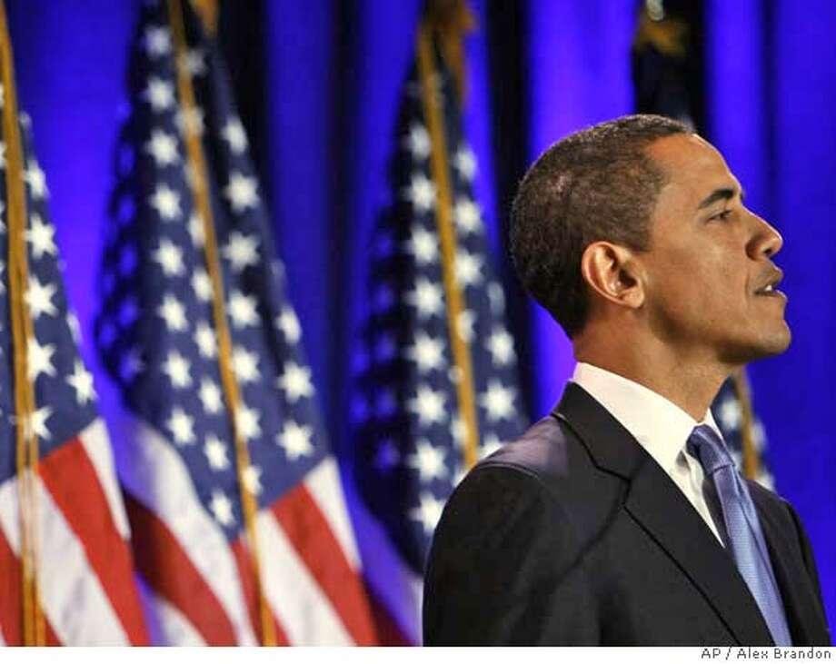 Democratic presidential hopeful Sen. Barack Obama D-Ill., speaks about race during a news conference in Philadelphia, March 18, 2008. (AP Photo/Alex Brandon) Photo: Alex Brandon