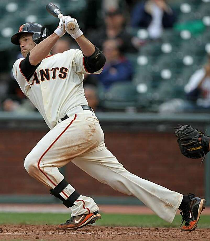 SAN FRANCISCO - MAY 27:  Freddy Sanchez #21 of the San Francisco Giants hits a two run single in the seventh inning against the Washington Nationals during an MLB game at AT&T Park on May 27, 2010 in San Francisco, California. Photo: Jed Jacobsohn, Getty Images