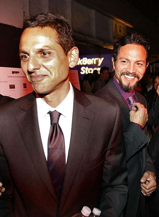 """Both Benjamin Bratt (right) his brother Peter Bratt greet the crowd of fans at a film festival party for their movie """"La Mission,"""" held at Bruno's Restaurant on Mission Street in San Francisco on April 23, 2009. Photo: Frederic Larson, The Chronicle"""