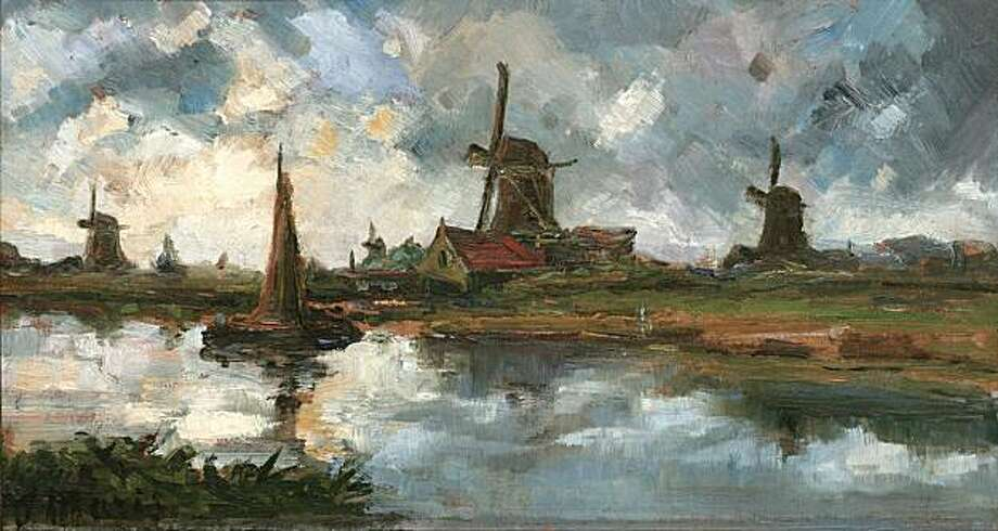 """""""Windmills by the Sea"""" (n.d.) oil on board by Jacobus Hendricus (Jacob) Maris (1837-1899) Photo: Unknown, Bedford Gallery, Walnut Creek"""