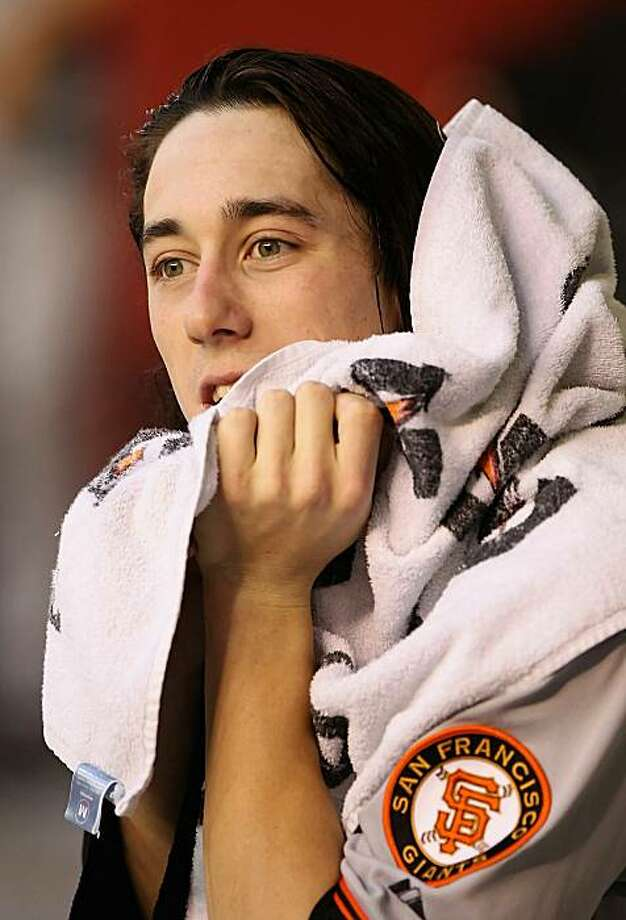 PHOENIX - MAY 20:  Starting pitcher Tim Lincecum #55 of the San Francisco Giants reacts in the dugout during the Major League Baseball game against the Arizona Diamondbacks at Chase Field on May 20, 2010 in Phoenix, Arizona. Photo: Christian Petersen, Getty Images
