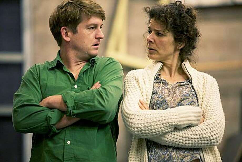 "Ryan O'Donnell (left) plays Ted, a man whose young son has just died, and Zehra Berkman is Lenora, seen in rehearsal for ""God's Ear"" at Shotgun Players Photo: Pak Han"