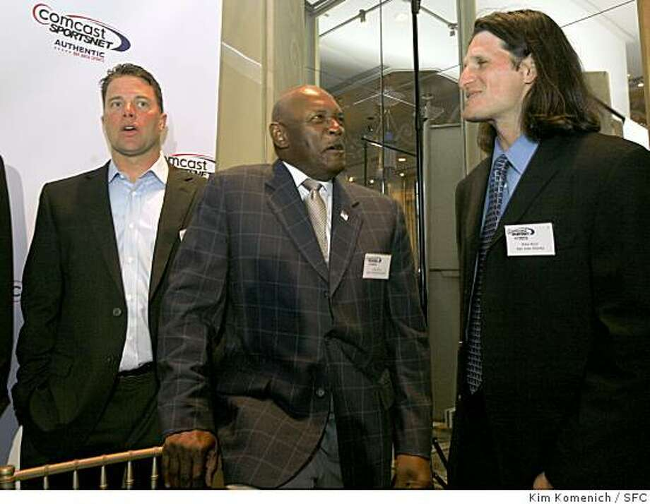 "From left, J.T. Snow, Vida Blue and Mike Ricci are among the Bay Area sports legends who gathered Wednesday, March 26, 2008 at the St. Francis Hotel in San Francisco, Calif. to help promote Comcast's re-launch of  ""Sportsnet Bay Area"". Photo by Kim Komenich / San Francisco Chronicle Photo: Kim Komenich, SFC"