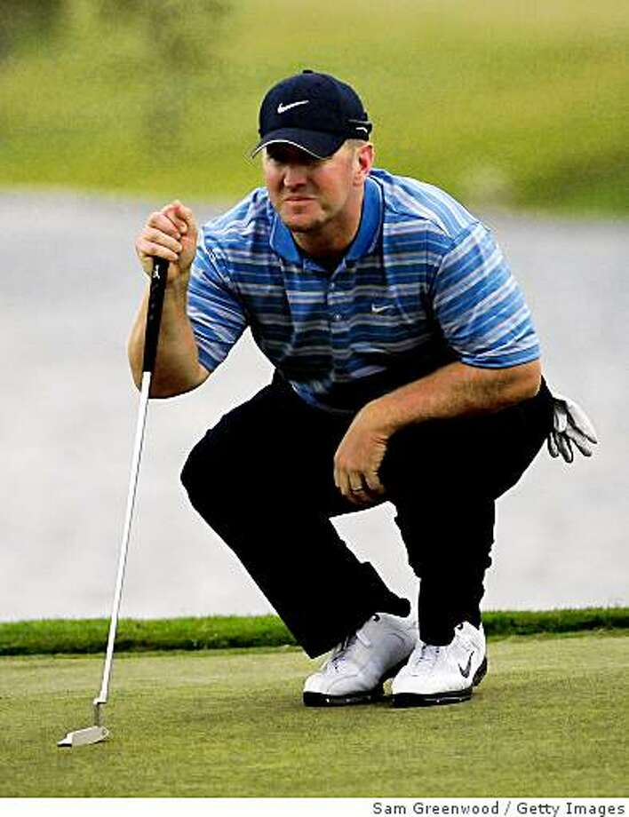 PALM COAST, FL - OCTOBER 31:  David Duval  looks over a birdie putt on the 18th hole during the second round of the Ginn sur Mer Classic at the Conservatory Golf Club on October 31, 2008 in Palm Coast, Florida.  (Photo by Sam Greenwood/Getty Images) Photo: Sam Greenwood, Getty Images