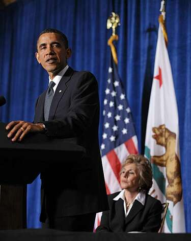 President Barack Obama speaks at a fundraiser for Senator Barbara Boxer and the Democratic Senatorial Campaign Committee May 25, 2010 at the Fairmont Hotel in San Francisco. Photo: Mandel Ngan, AFP/Getty Images