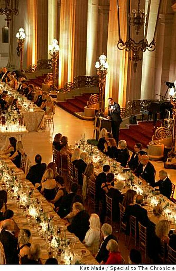 The domed foyer of the San Francisco Opera House is aglow with warm lighting as  Boucheron's president  Jean-Christophe Bedos, addresses the guests of  the French luxury jewelry boutiques 150th birthday celebration in San Francisco, Calif. on Thursday, October 2, 2008. Photo: Kat Wade, Special To The Chronicle
