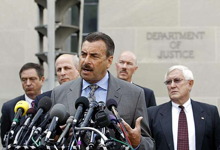Los Angeles Chief of Police Charlie Beck speaks outside the Justice Department in Washington, Wednesday, May 26, 2010, following a meeting with Attorney General Eric Holder. From left are, San Jose, Calif. Police Chief Rob Davis,Chuck Wexler of the PoliceExecutive Research Forum, Beck, Salt Lake City Police Chief Chris Burbank and Sahuarita, Ariz. Police Chief of Police John W. Harris. Photo: Jose Luis Magana, AP