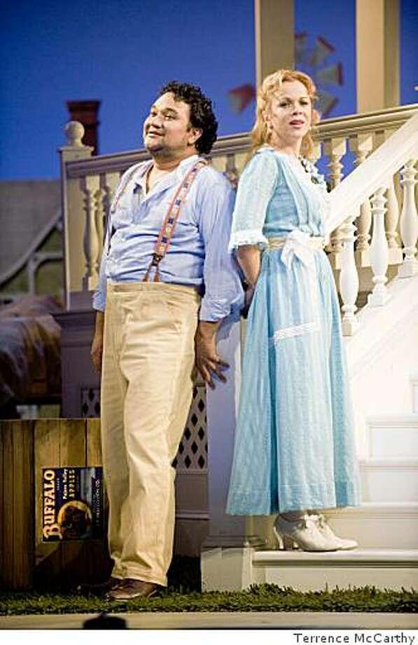 "Ram?n Vargas (Nemorino) and Inva Mula (Adina) in San Francisco Opera's ""The Exixir of Love."" Photo: Terrence McCarthy"