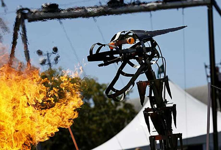 There were a number of fire-breathing creatures at the annual Maker Faire, a spectacle of ingenious inventions and gadgets Sunday at the San Mateo County Event Center. Photo: Brant Ward, The Chronicle