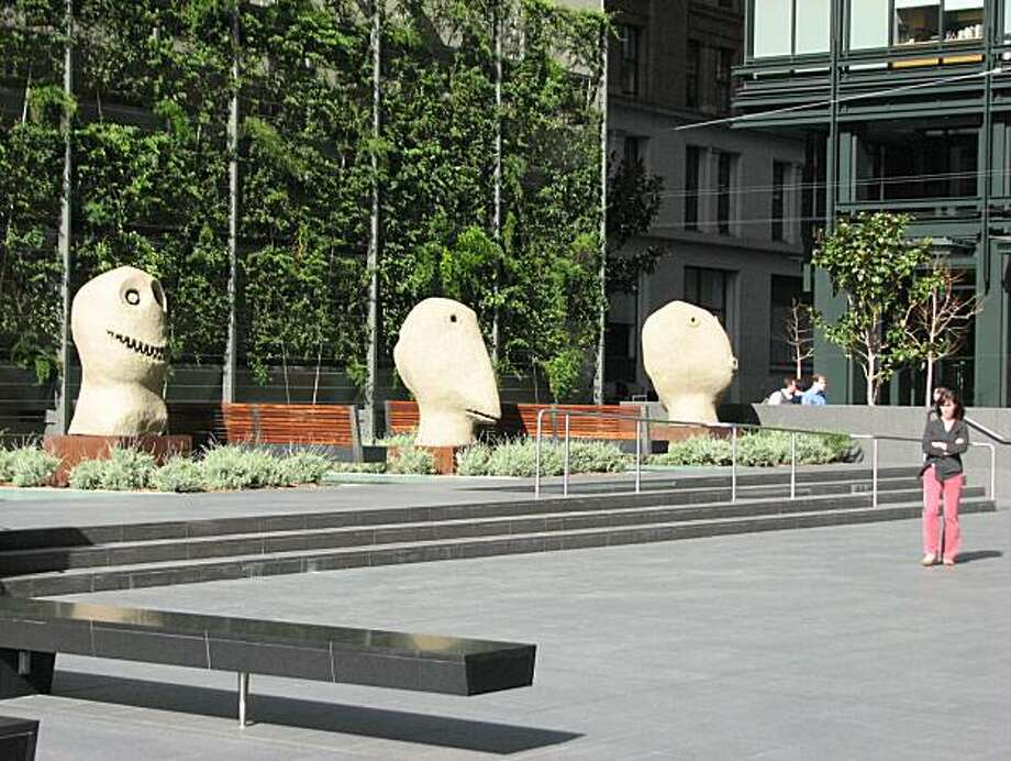 The plaza at 555 mission street is one of the best in the city, thanks largely to this trio of sculptures, Moonrise, by Ugo Rondinone Photo: John King