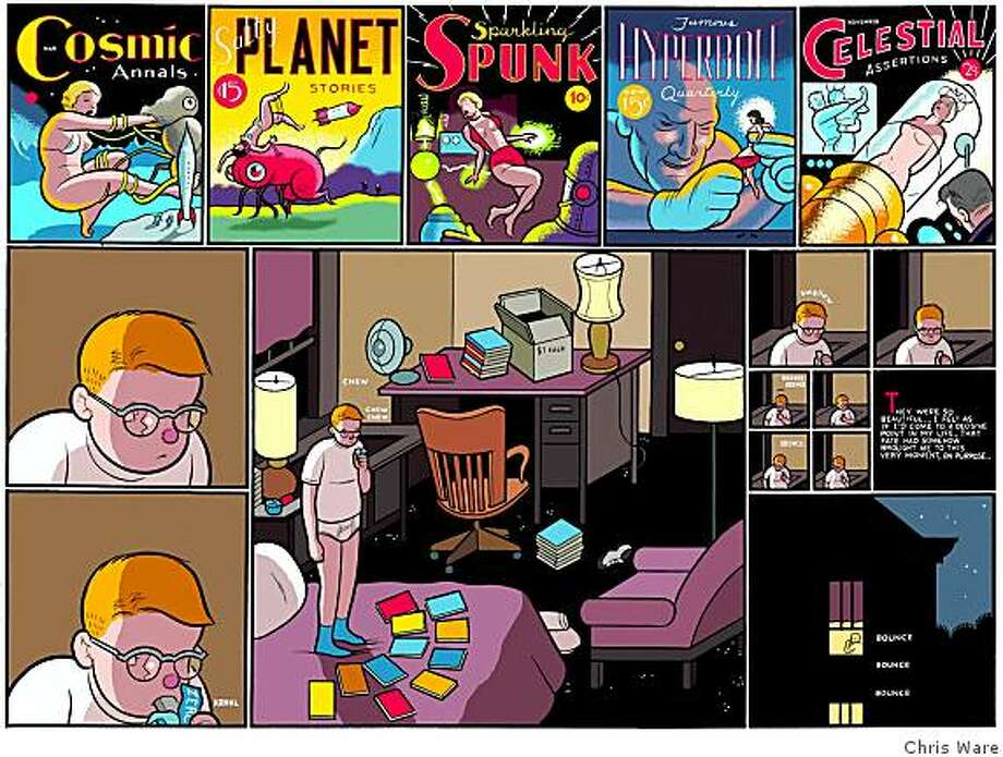 A page from American cartoonist Chris Ware's newest book, The ACME Novelty Library #19, published by Drawn and Quarterly. Mr. Ware will be speaking at the Alternative Press Expo (APE) on Sunday, November 2nd. Photo: Chris Ware