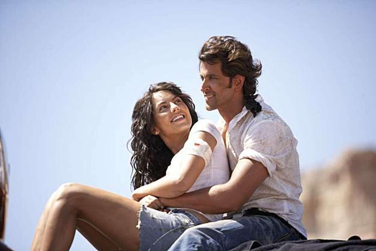 B‡rbara Mori as 'Natasha' and Hrithik Roshan as 'Jay' appear in a scene in,