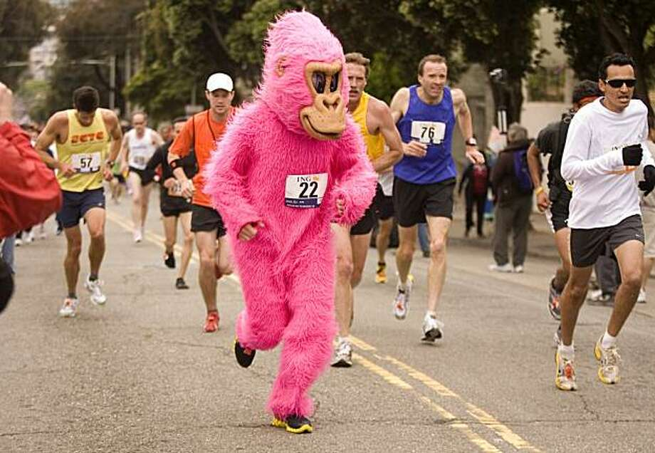An unidentified runner in a gorilla outfit climbs the Hayes Street hill during the Bay to Breakers 12-kilometer race, Sunday, May 16, 2010, in San Francisco. Photo: D. Ross Cameron, AP