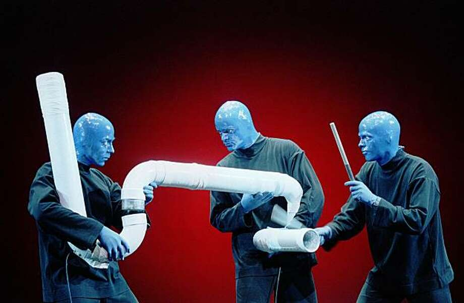 The Blue Man Group performs on the Las Vegas Strip. Photo: Ken Howard/Blue Man Productions, NYT