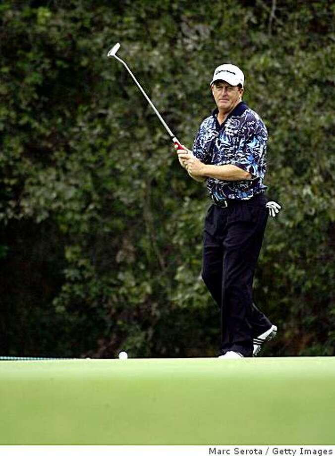 WOODLANDS, TX - OCTOBER 17:  Fred Funk reacts to his putt on the 10th hole during the first round of the  Administaff Small Business Classic at the Woodlands Country Club on October 17, 2008 in Woodlands, Texas. (photo by Marc Serota/ Getty Images) Photo: Marc Serota, Getty Images