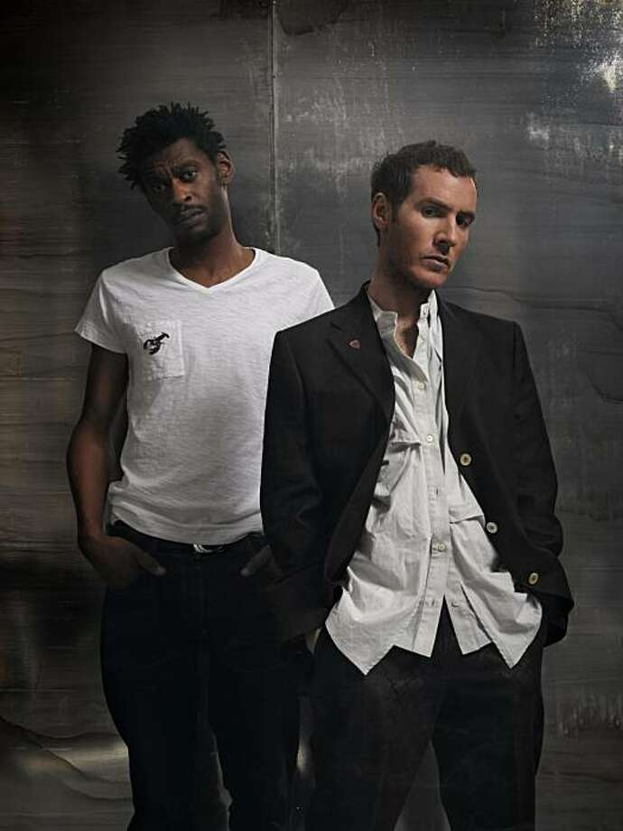 One of these men has 'button envy': Massive Attack's Grant Marshall (Daddy G) and Robert Del Naja (3D). Photo: Emi