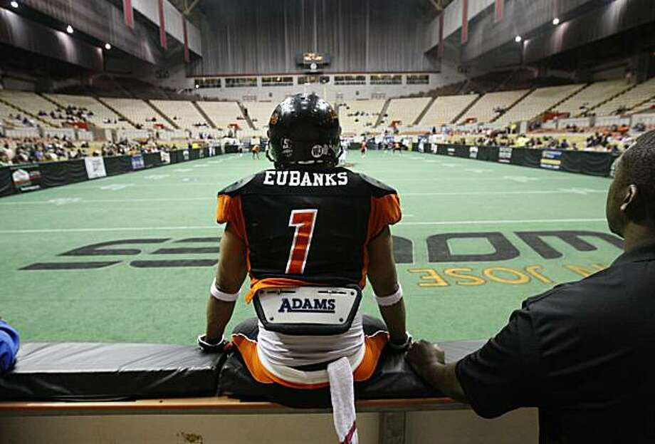 Reggie Eubanks of San Jose Wolves waits for the Ogden Knights to kickoff to start their indoor football game at the Cow Palace in Daly City, Calif., on Saturday, May 8, 2010. The Wolves devoured the Knights 78-12. Photo: Paul Chinn, The Chronicle