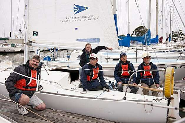 The Japanese team, including far left, Ralf Meiranke (team trimmer, Kanagawa, Japan) and far right, Fumihiro Adachi (blind driver, Saitama, Japan) at the California Invitational Blind Regatta (Alameda, May 14-16). Photo: Marc Fiorito, Gamma Nine Photography