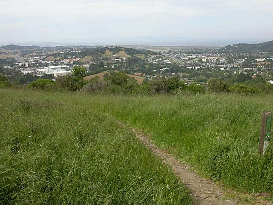 A view from San Rafael Ridge, at Terra Linda/Sleepy Hollow Divide Open Space Preserve in Marin, scanning across Lucas Valley (far left) to San Rafael (far right) to San Pablo Bay (in distance). A bicyclist and a hiker were involved in a physical altercation on a trail in the Preserve last week which hospitalized the 65-year old hiker. Photo: Tom Stienstra