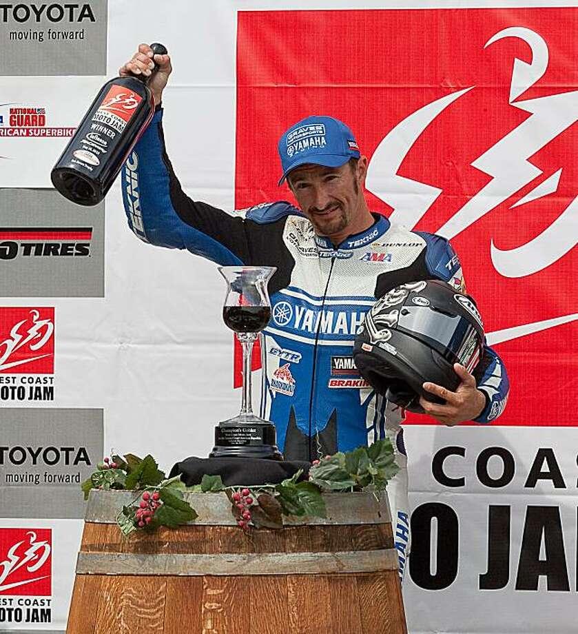 Josh Hayes celebrates his third American SuperBike victory at the Infineon Raceway. Photo: Robert Redmond, Infineon Raceway