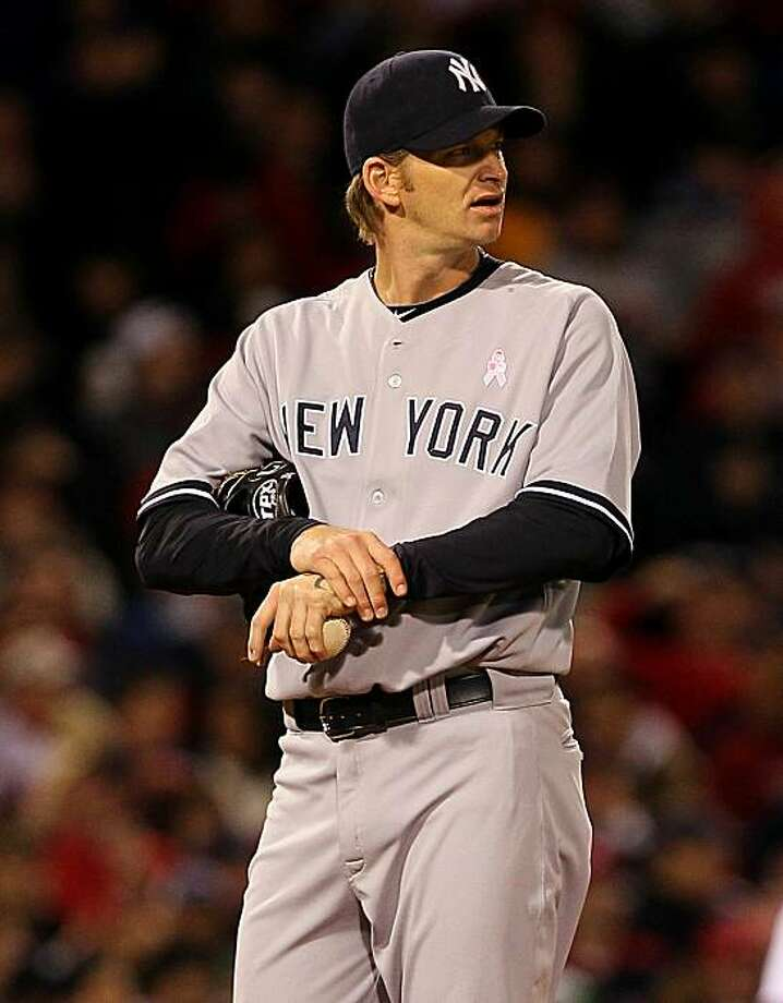 BOSTON - MAY 9:  A.J. Burnett #34 of the New York Yankees reacts in the third inning against the Boston Red Sox at Fenway Park on May 9, 2010 in Boston, Massachusetts. Photo: Jim Rogash, Getty Images