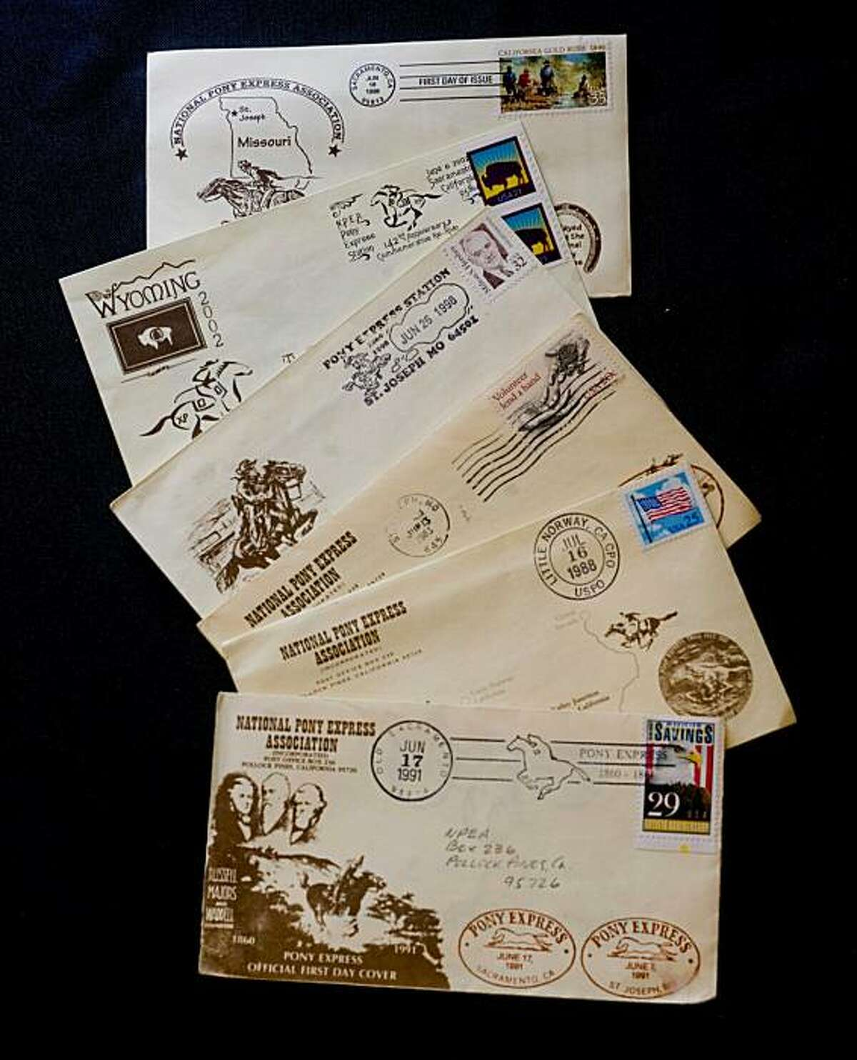 Each year, the National Pony Express Association stages a re-enactment fundraising event in which mail is carried between Sacramento and St. Joseph, Mo., by horseback. For $5, anyone can have a letter delivered by Pony Express. A different cachet, or commemorative postmark, is issued each year. It's too late to send a letter in this year's event, but information on how to do so next year will be available at the association's website, www.pxhomestation.com. Letters sent via the original Pony Express arenow worth a fortune; one recently sold at auction for $460,000.